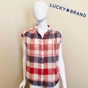 NEW - Lucky Brand - Red, White, Blue Linen Blouse
